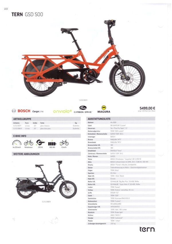 TERN GSD S00 2021 specificaties fiche